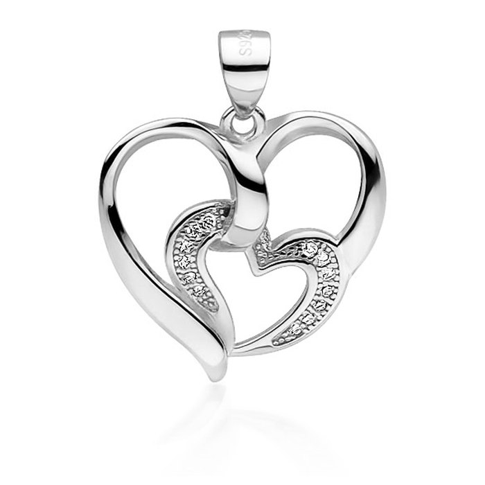 Srebrny wisiorek dwa serce