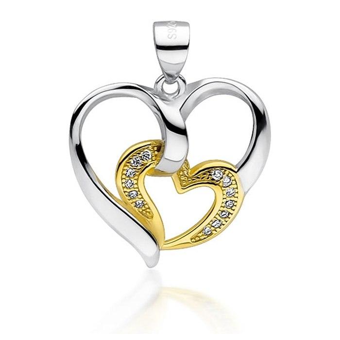 Srebrny wisiorek serca złote serce