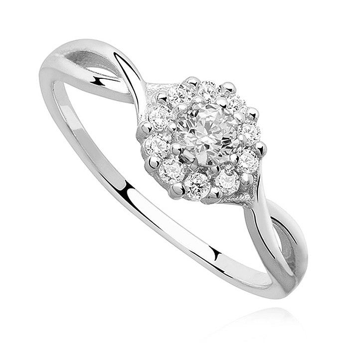 Srebrny zaręczynowy pierścionek z cyrkoniami 2