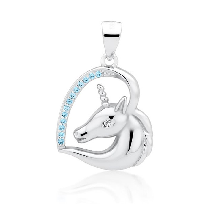Srebrny wisiorek serce z jednorożcem aqua