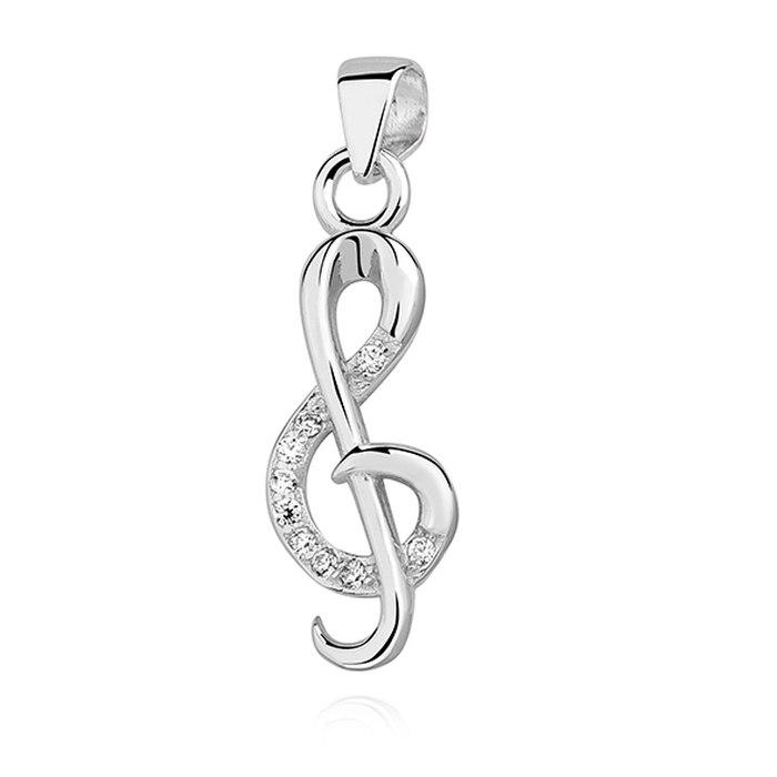 Srebrny wisiorek klucz wiolinowy cyrkonie