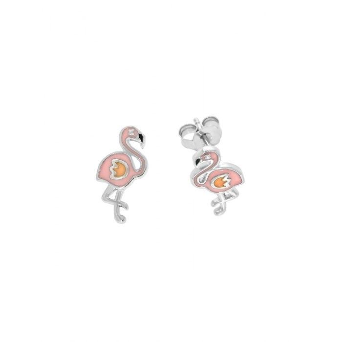 Srebrne kolczyki różowe flamingi