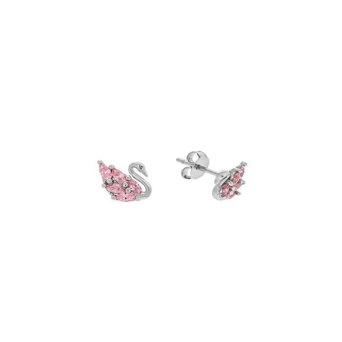 Srebrne kolczyki łabędzie różowe cyrkonie