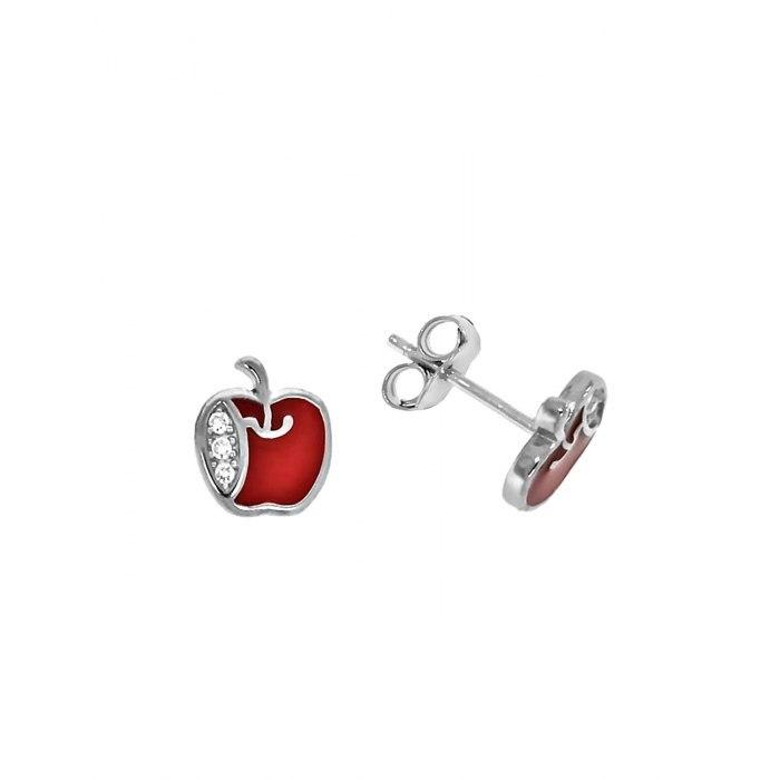 Srebrne kolczyki jabłuszko jabłko z cyrkoniami