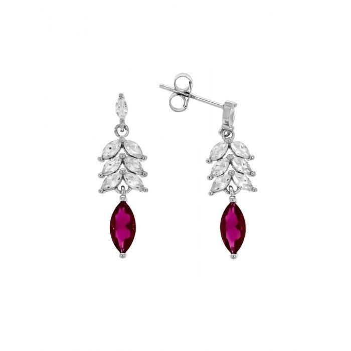 Długie srebrne kolczyki wkręty rubinowe cyrkonie