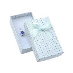 Pudełko 5x8 niebieskie szare kropki, duża kokarda