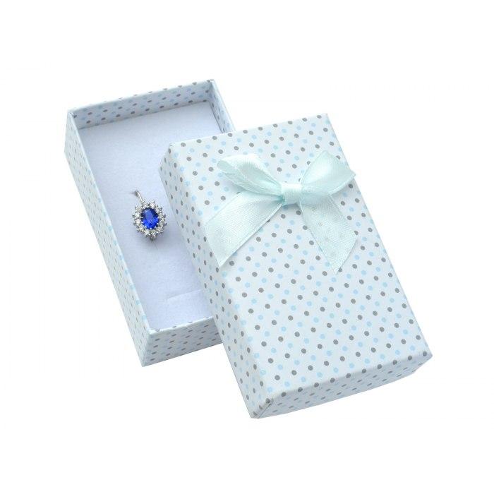 Pudełko 5x8x3 cm - niebieskie w kropki, duża kokarda