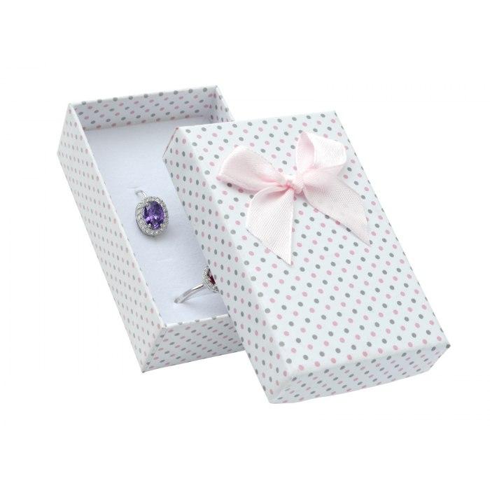 Pudełko 5x8 różowe szare kropki, duża kokarda