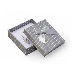 Pudełko 8x8 - szare w kropki, duża kokarda