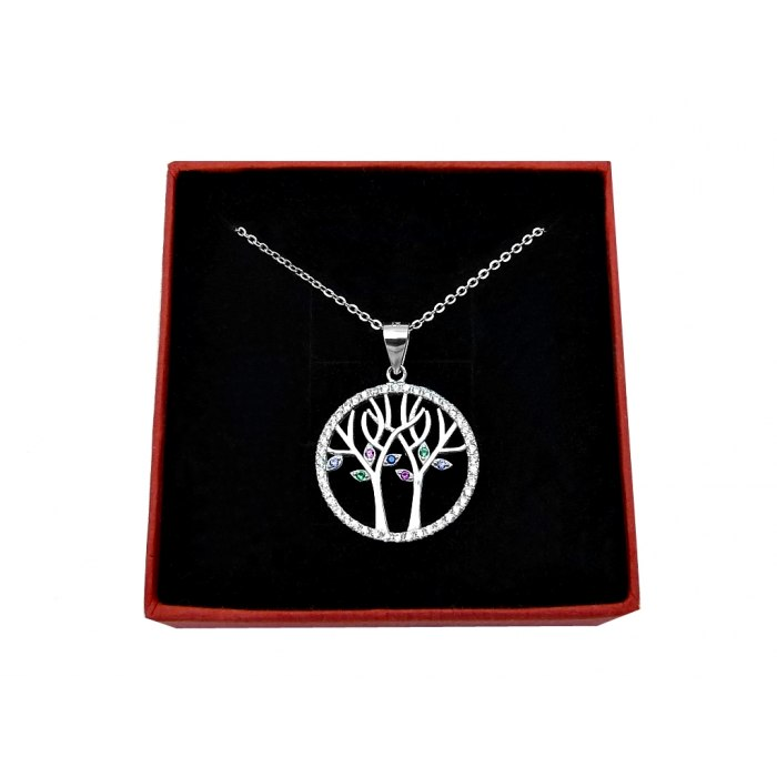 Srebrny naszyjnik 45 cm drzewo życia 3 cyrkonie + pudełko