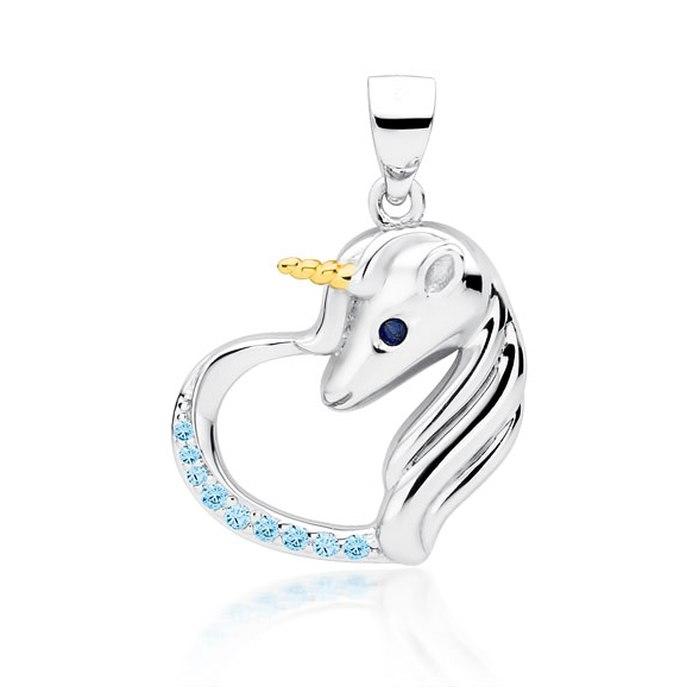 Srebrny wisiorek serce jednorożec aqua cyrkonie