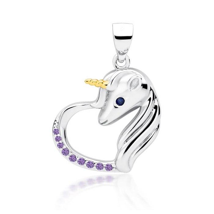 Srebrny wisiorek serce jednorożec fiolet cyrkonie