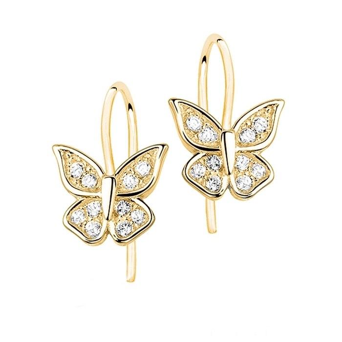 Pozłacane kolczyki motylki crystal
