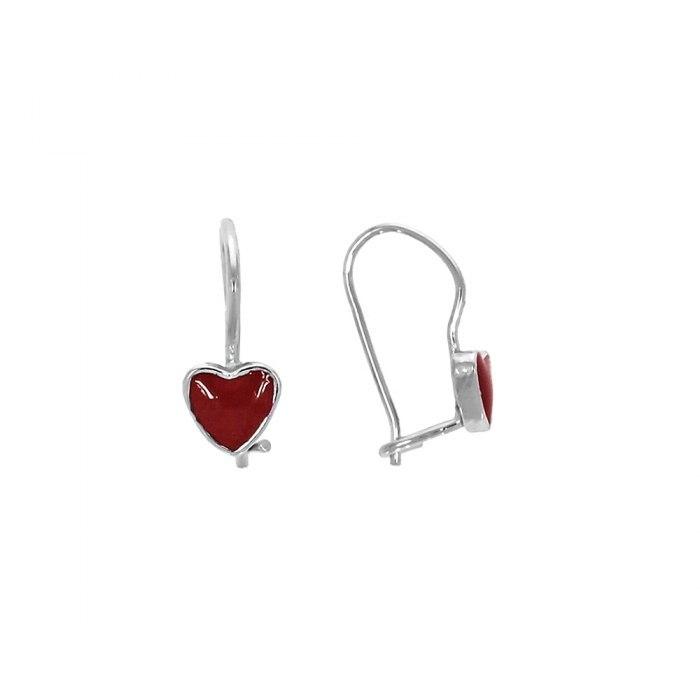 Srebrne emaliowane kolczyki czerwone serca