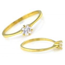 Złoty 333 zaręczynowy pierścionek z cyrkonią + pudełko