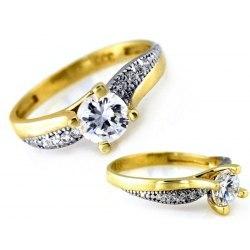 Złoty 333 zaręczynowy pierścionek cyrkonie + pudełko