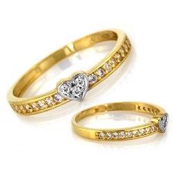 Złoty 333 zaręczynowy pierścionek serduszko + pudełko