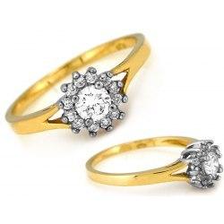 Złoty 333 zaręczynowy pierścionek cyrkonie pudełko
