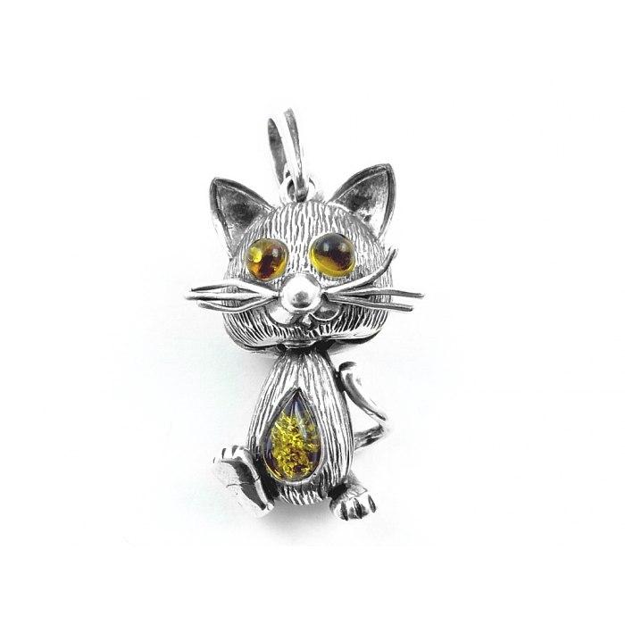 Srebrny trójwymiarowy kotek z bursztynem