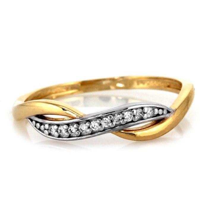 Złoty 333 pierścionek pleciony cyrkonie pudełko