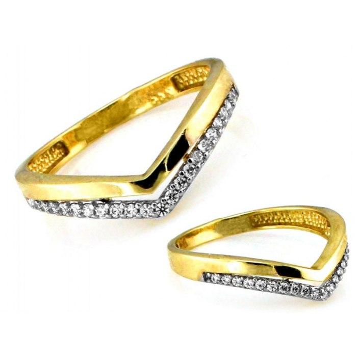 Złoty 333 pierścionek tiara cyrkonie pudełko