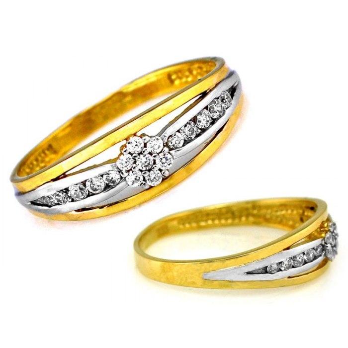 Złoty 333 pierścionek kwiat cyrkonie pudełko