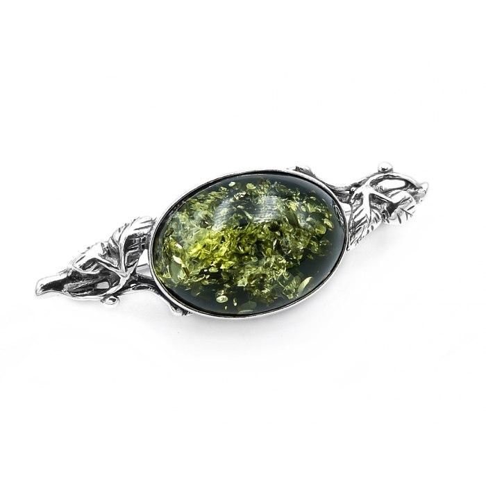 Srebrna broszka zielony bursztyn liście