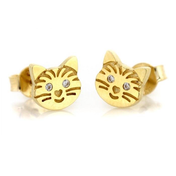 Złote 333 kolczyki kotki cyrkonie + pudełko