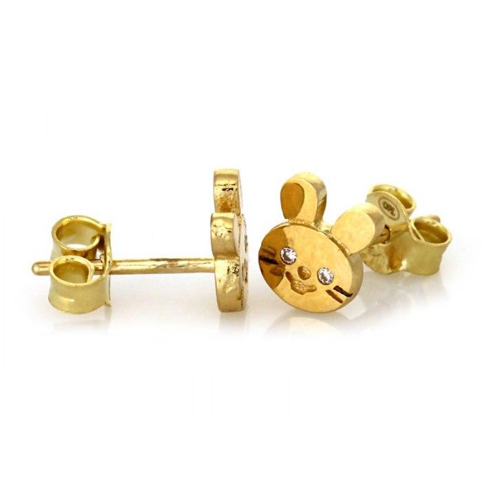 Złote 333 kolczyki króliczki cyrkonie + pudełko