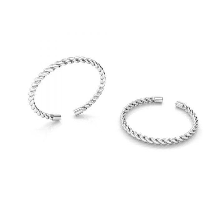 Srebrny pierścionek knuckle ring pleciony