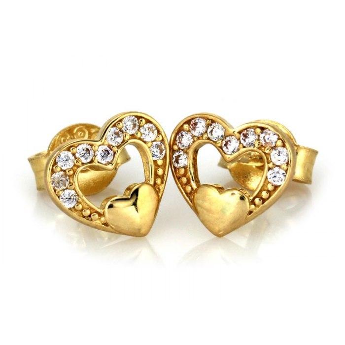 Złote 333 kolczyki serca z cyrkonie