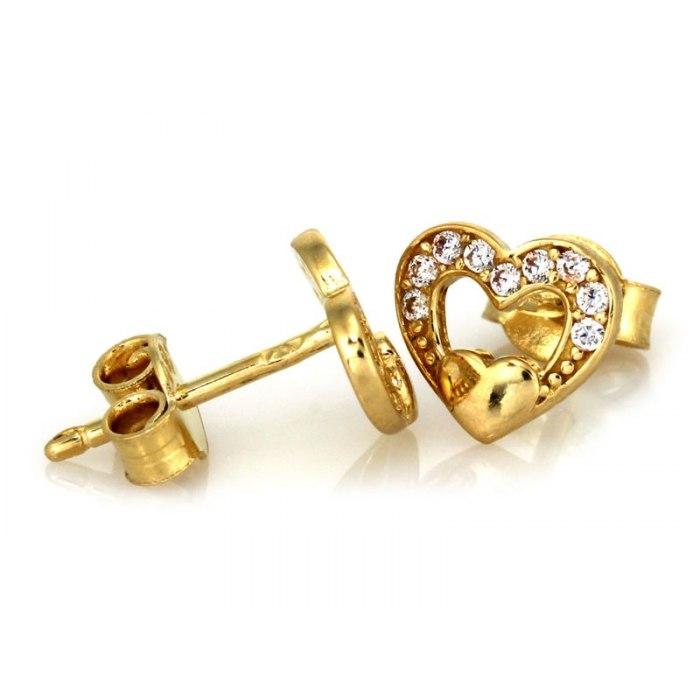 Złote 333 kolczyki serca z cyrkonie + pudełko