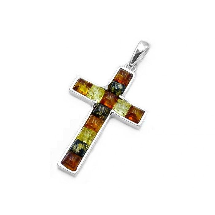 Duży srebrny krzyż z kolorowymi bursztynami