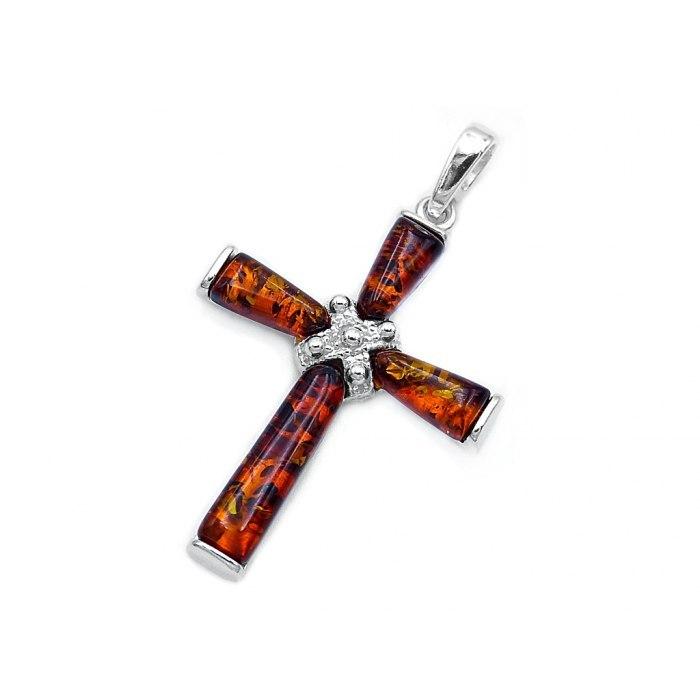 Duży srebrny krzyż z bursztynami