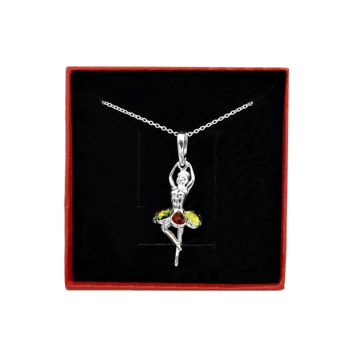 Srebrny naszyjnik baletnica 3D bursztyn + pudełko