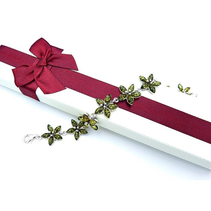 Srebrna bransoletka kwiaty z bursztynem pudełko