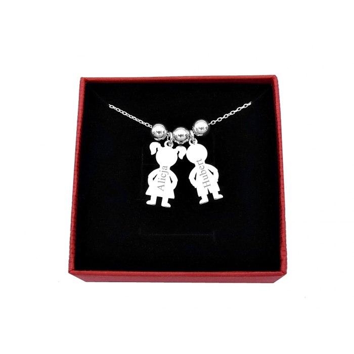 Srebrny naszyjnik dzieci grawer + pudełko