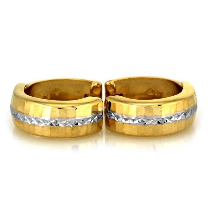 Grube złote 333 kolczyki diamentowane koła 3