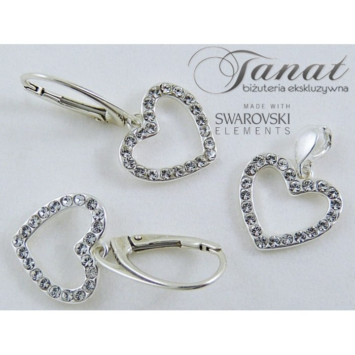 Srebrny komplet Swarovski serca - Crystal