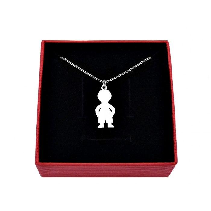 Srebrny naszyjnik dziecko chłopiec syn + pudełko