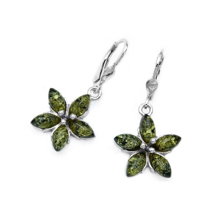 Srebrne kolczyki kwiaty zielony bursztyn pudełko