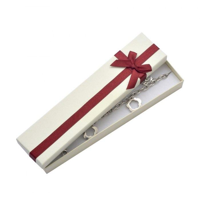 Srebrna bransoletka brązowy bursztyny pudełko