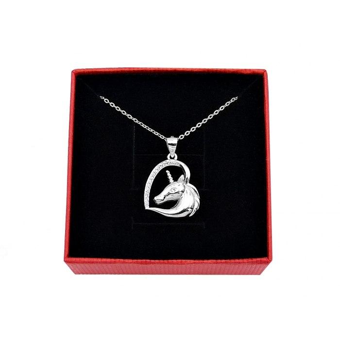 Srebrny naszyjnik serce jednorożec + pudełko