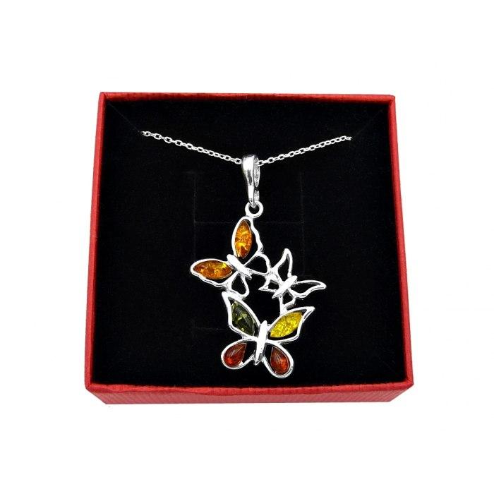 Srebrny naszyjnik motylki bursztyn + pudełko