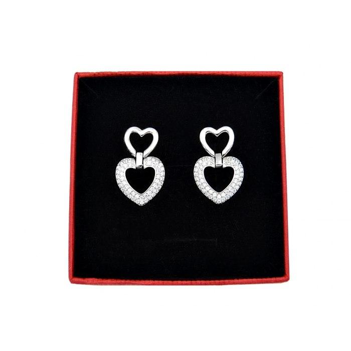 Srebrne kolczyki podwójne serca cyrkonie pudełko
