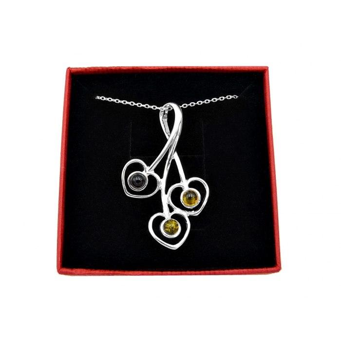 Srebrny naszyjnik trzy serca bursztyn + pudełko