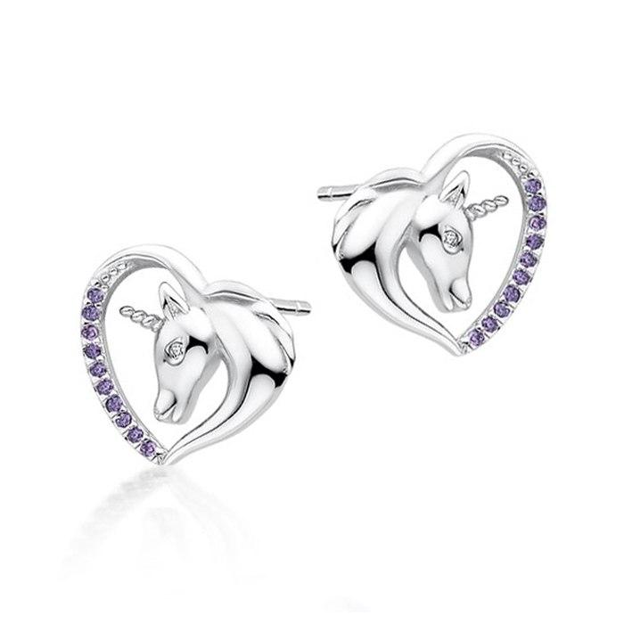 Srebrne kolczyki serca jednorożec fiolet