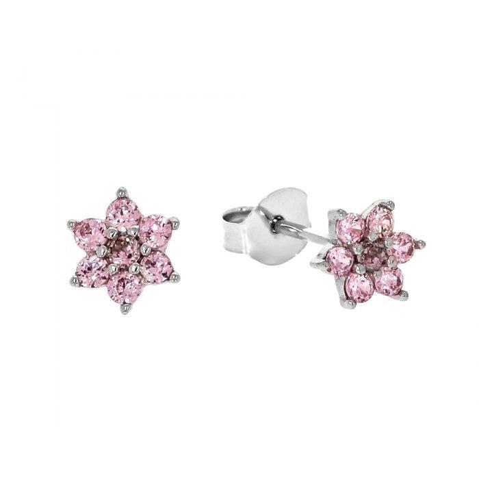 Srebrne kolczyki kwiatuszki różowe cyrkonie