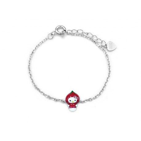 Dziecięce srebrna bransoletka Hello Kitty truskawka