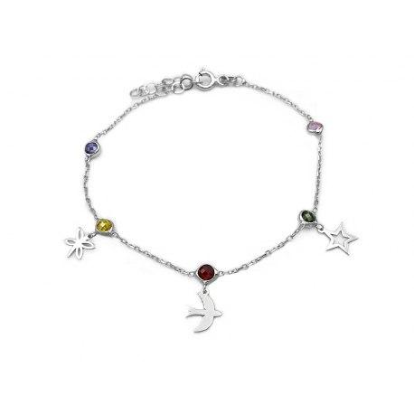 Srebrna bransoletka z kolorowymi kryształkami